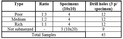 Sample test specimens