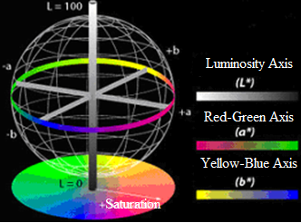 Diagram of the color spaces L*, a*, and b*. The L* axis or luminosity axis ranges from 0 (black) to 100 (white), while the a* and b* axes range from -128 to 127. Those cases in which a* = b* = 0 are achromatic. Therefore, L* represents the gray achromatic scale ranging from white to black, Stephen Westland ©.