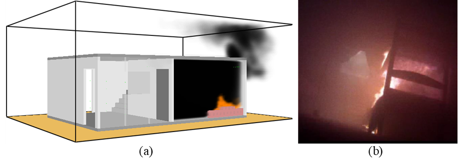 Spread of smoke within 4 minutes of fire: (a) Computer simulation in FDS; (b) Experimental test